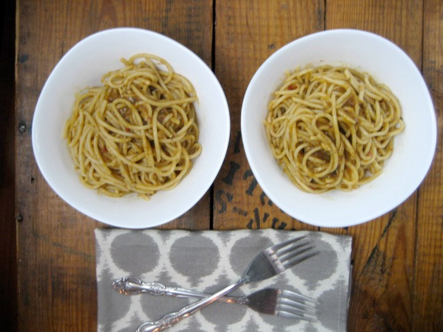 Pasta Aglio Olio With Anchovies keys to the cucina 1