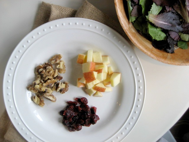 mixed greens balsamic honey vinaigrette apples cranberries walnuts keys to the cucina 1