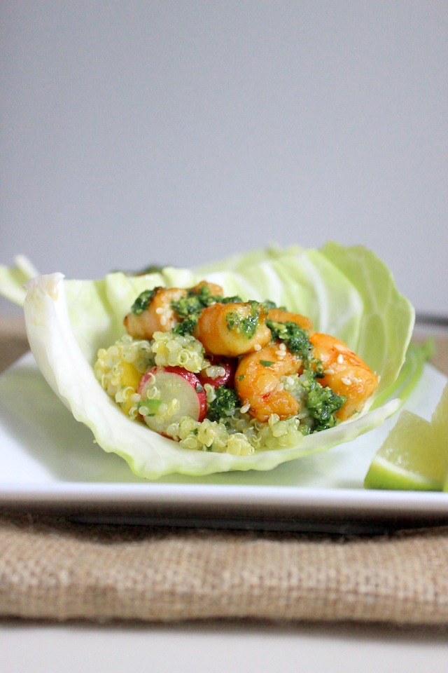 cabbage wrap with mango quinoa asian shrimp cilantro pesto 3