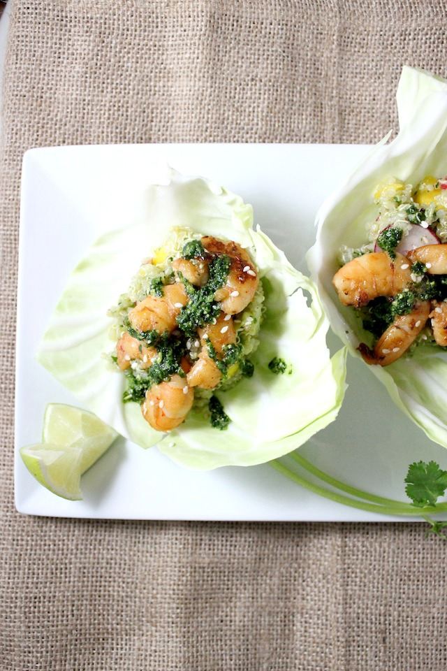 cabbage wrap with mango quinoa asian shrimp cilantro pesto 4