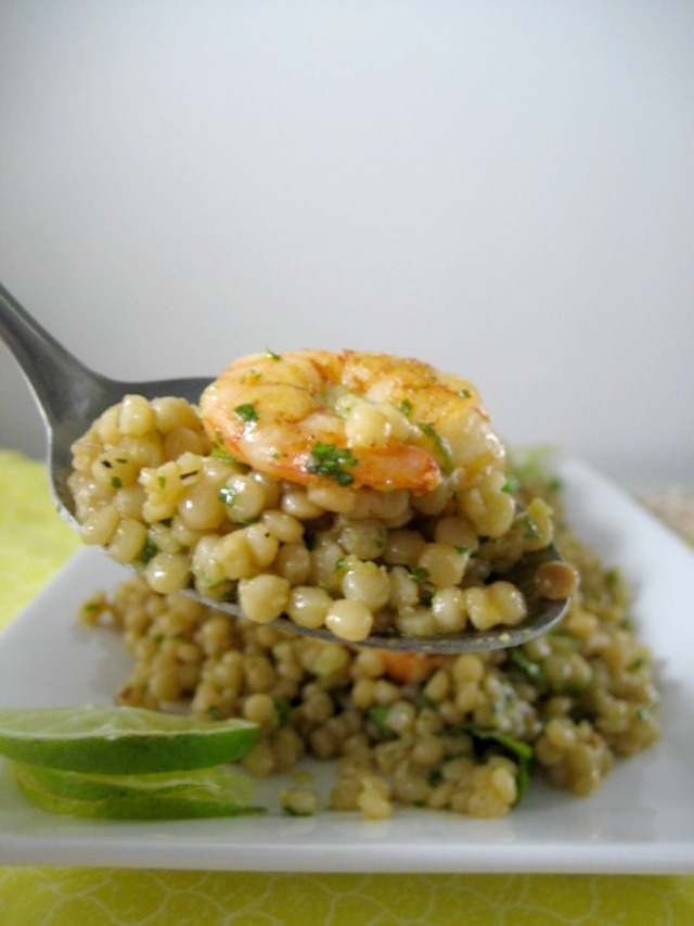 israeli couscous with shrimp - avocado cilantro lime dressing - keys to the cucina 3