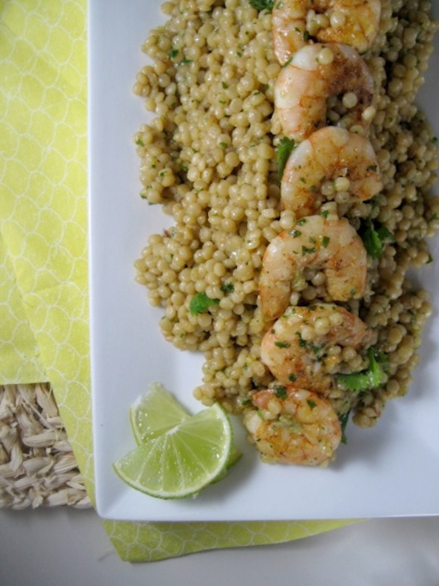 israeli couscous with shrimp - avocado cilantro lime dressing - keys to the cucina 4