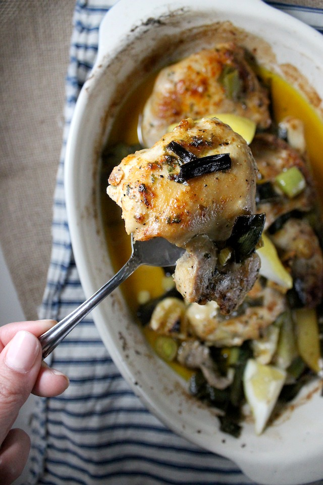 roasted chicken with lemon baby leeks garlic keys to the cucina 5