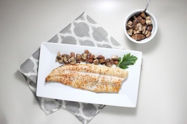rainbow trout mushroom bacon vinaigrette keys to the cucina 1