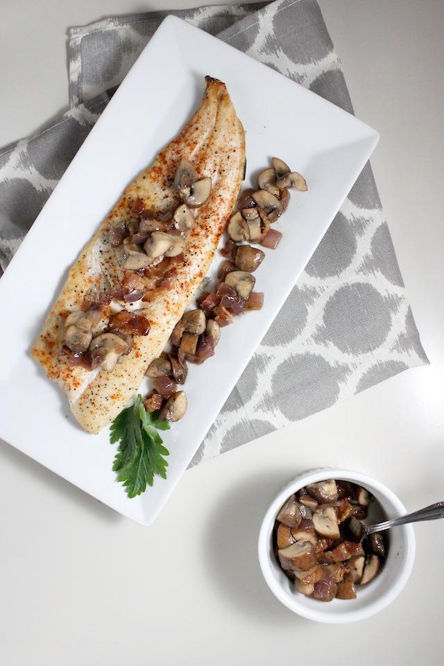 rainbow trout mushroom bacon vinaigrette keys to the cucina 2
