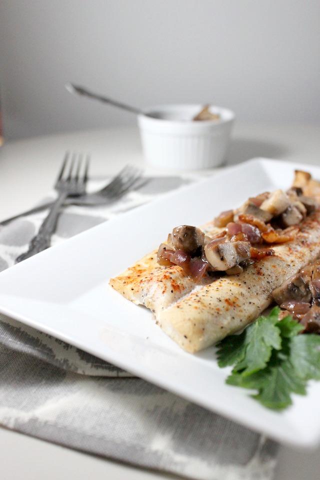 rainbow trout mushroom bacon vinaigrette keys to the cucina 4