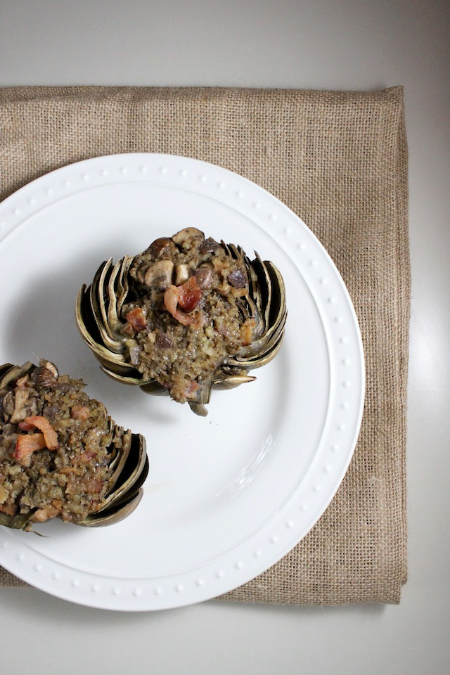 stuffed artichokes bacon mushroom parmesan keys to the cucina 4