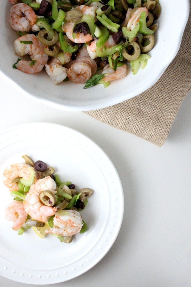 cold shrimp salad with olives celery lemon keys to the cucina 4