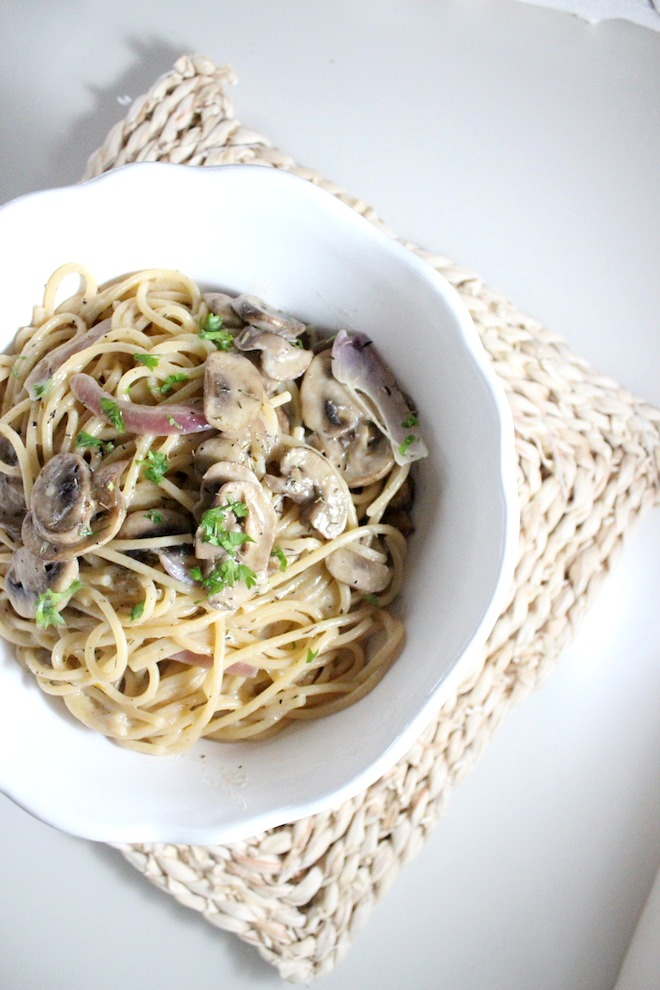 mushroom spaghtti white wine thyme mascarpone keys to the cucina 1