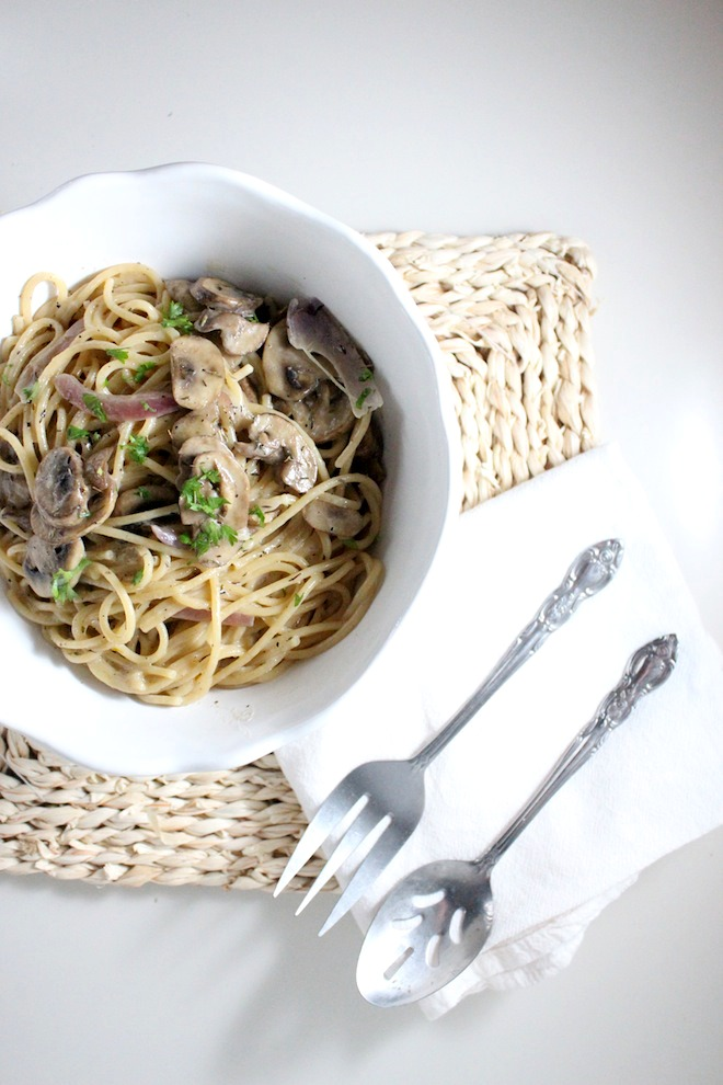 mushroom spaghtti white wine thyme mascarpone keys to the cucina 2