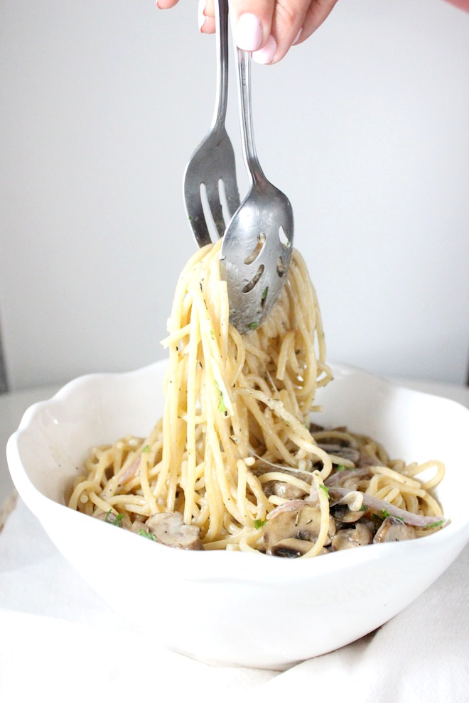 mushroom spaghtti white wine thyme mascarpone keys to the cucina 4