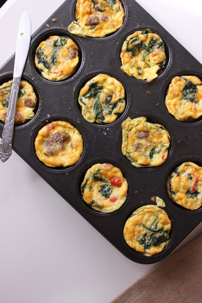 egg muffins italian sausage spinach tomatoes keys to the cucina 1