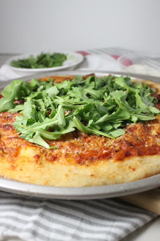 pizza with vodka sauce parmesan arugula keys to the cucina 1