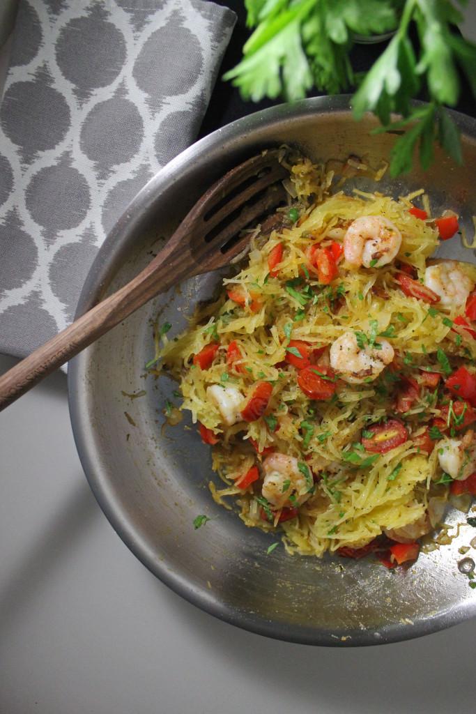 spaghetti squash shrimp tomatoes www.keystothecucina.com 1