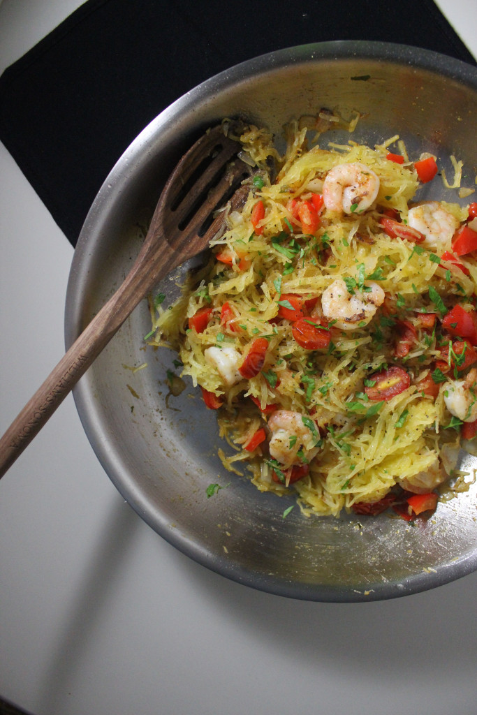 spaghetti squash shrimp tomatoes www.keystothecucina.com 4
