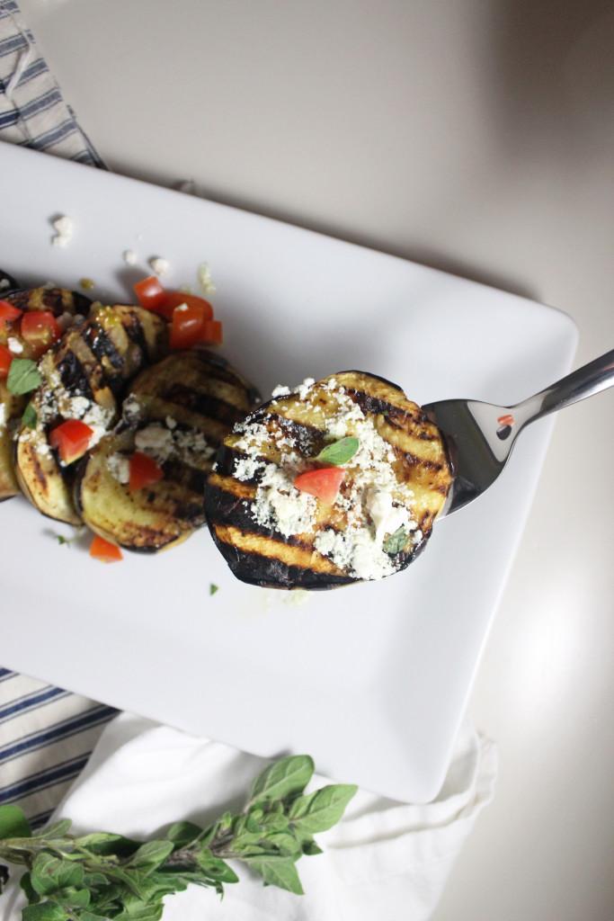 www.keystothecucina.com - grilled eggplant and lemon feta dressing 3