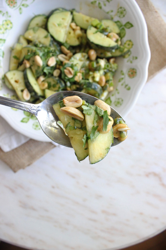 cucumber salad soy peanutbutter dressing cilantro keys to the cucina 2