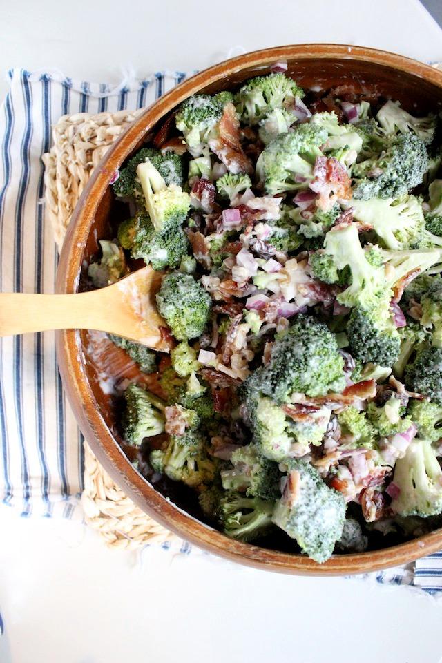 Broccoli Salad with Bacon, Walnuts Raisin and Greek Yogurt Dressing | Keys to the Cucina